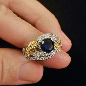 Sapphire Solid Silver with gold